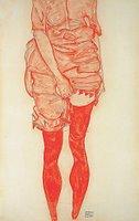 Egon Schiele - Stehende Frau in Rot, 1913