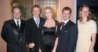 Andrew, Johan, Maria, Johan och Camilla på Trettondagsaftonbalan 2007