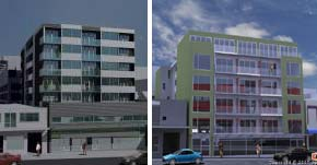 Old and new versions of the building planned for 140-144 Vivian St, Wellington