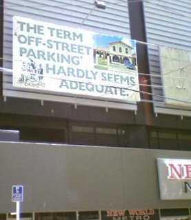 Billboard advertising the Hutt Valley - The term 'off-street parking' hardly seems adequate