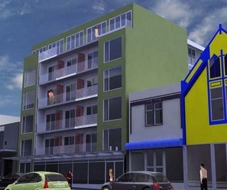 Rendering of the proposed apartment block at 140-144 Vivian St, Wellington