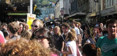 crowds spilling over from the Swan Lane area during the Mint Chicks' gig at the Cuba St Carnival