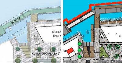 Kumutoto plaza designs: new version (Dec 06) on the left, old on the right