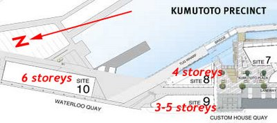 Proposed new building locations at Kumutoto