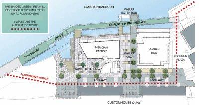 Alternative routes around Kumutoto tug wharf promenade