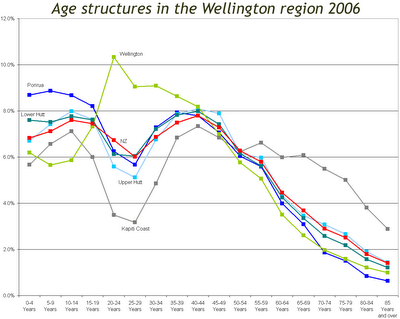 Wellington region age structures in 2006