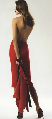 Ana Beatriz Barros is a backless red dress