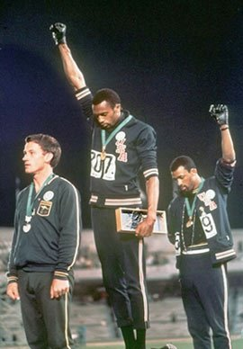 Tommie Smith at the top of the podium, Mexico City, 1968.