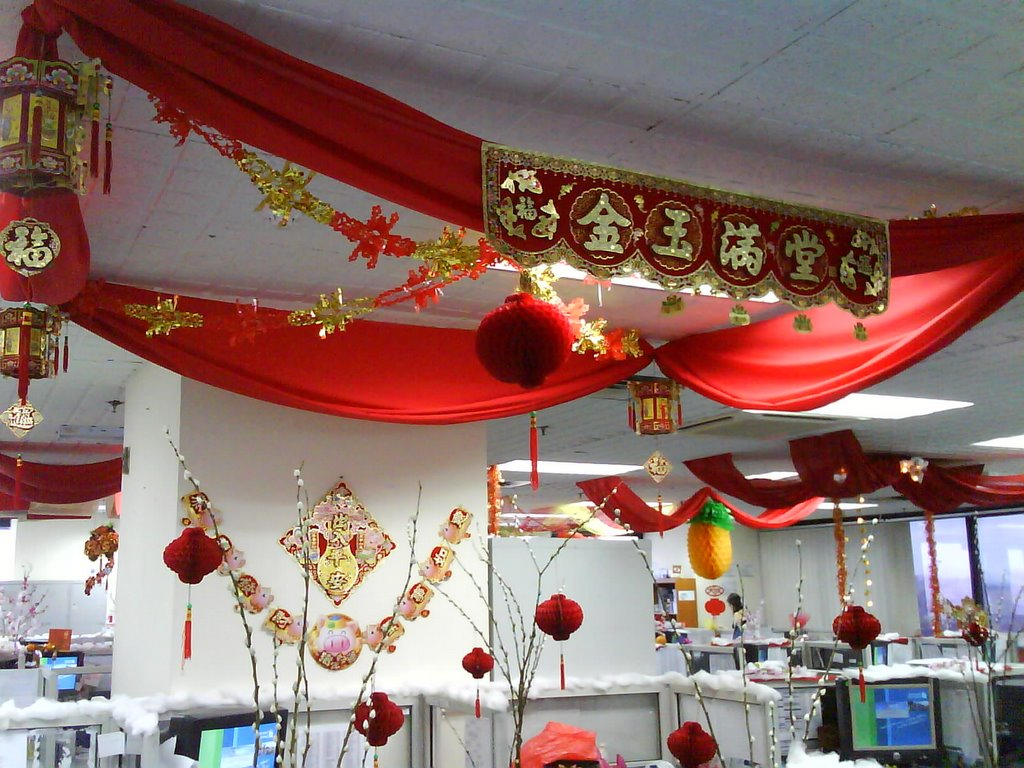 Life goes on cny decoration at my office - Magnificent new year office decoration ...