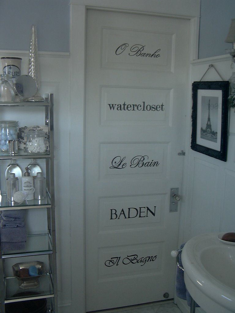 This is a raised panel door  on which I ve painted the word for  bathroom   in different languages   fonts. Second Chance Art   Accessories  Decorative painting on a raised