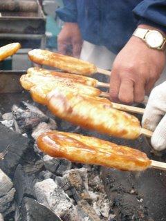 Freshly grilled mochi
