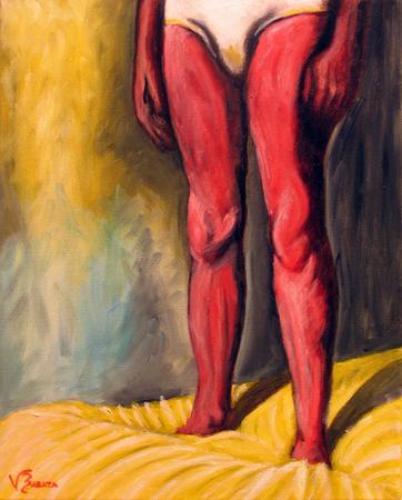 Homem em pé na cama amarela