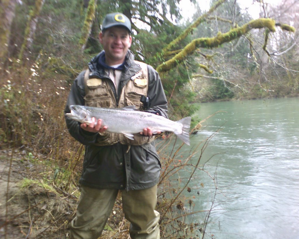 My second wind brother assists brother in steelhead success for Sol duc river fishing