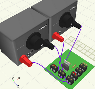 3D representation of the MOSFET test using Croc Clips