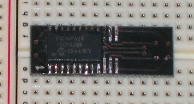 image of the PIC and adaptor connected to bread-board