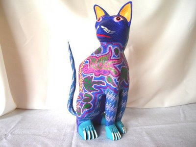 For gifts, collectibles, arts and Mexican crafts, visit Pale Horse Galleries, http://palehorsemex.vstore.ca/, Gato Azul Sentantodose -- Blue Cat Takes A Seat by Felipe and Lucila Zarate.