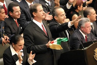 Mark in Mexico, http://markinmexico.blogspot.com/ Pale Horse Galleries for gifts, Mexican arts and crafts, alebrijes and collectibles, http://palehorsemex.vstore.ca/ Felipe Calderón, with outgoing President Vicente Fox standing at his side, taked the oath of office.