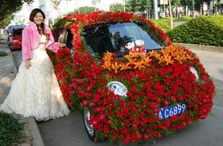 Flower Covered wedding Car