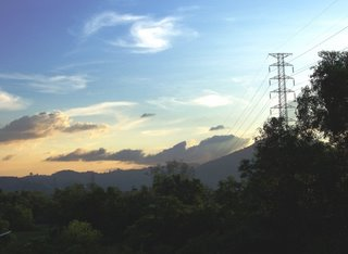 View over the hills near my house (darn the electric pylon)