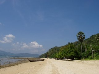 View along the beach in direction of Panwa Beach Resort