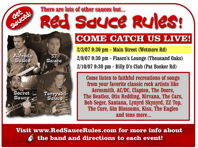 Red Sauce Rules band schedule for February
