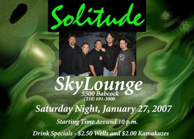 The band Solitude plays Sky Lounge Saturday January 27th