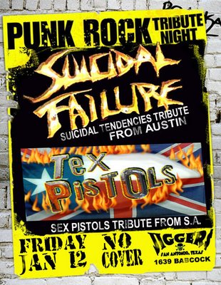 Punk Rock Tribute Bands Suicidal Failure and Tex Pistols at Jiggers San Antonio