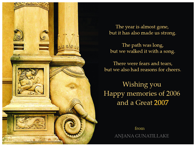 among many traditional new year greeting cards recieved by me this card sent by anjana was the most fascinating one for me