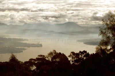 Tasman Bridge from Mt. Nelson, Hobart, July 2000