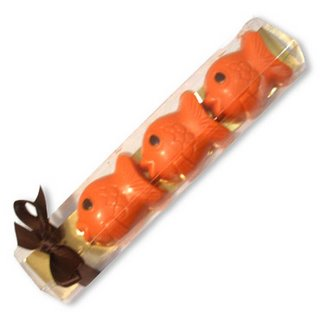 Some goldfish made of orange coloured chocolate