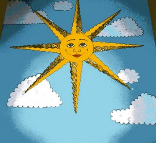 A mural of a bright yellow sun against a blue sky background
