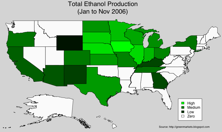 Green Markets Electricity Gasoline And Ethanol By State - Map of corn production in us