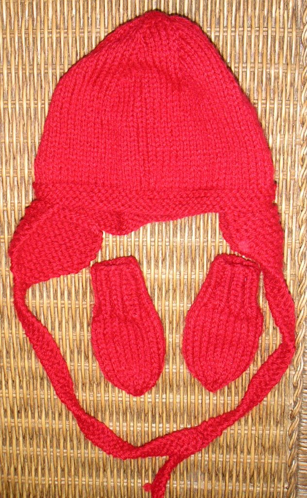 red earflap hat and mittens