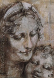 DaVinci Inspired Tonal Pastel Painting of Madonna and Child by Naj