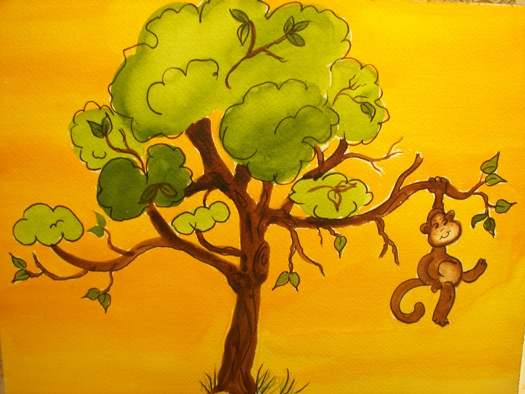 monkey in a tree drawing giftsforsubs