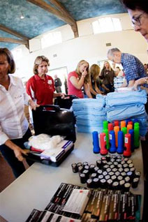 Event participants assemble Caregiver Kits at El Montecito Presbyterian Church.