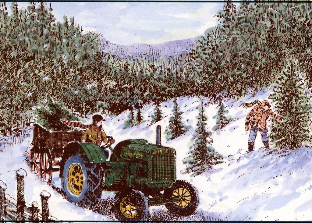 Santa On Tractor Christmas Cards John Deere Page 1