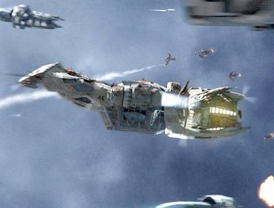 the movie Serenity - a shot of the ship, Serenity
