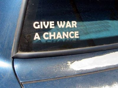 Give War a Chance sticker on a car window