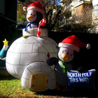 inflatable penguin in an igloo, penguin with this-way-to-North-Pole sign