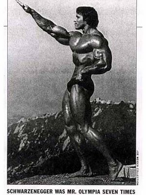 Governor Arnold Schwarzenegger, his well-defined muscles all oiled up, makes a gesture that's easy to misinterpret