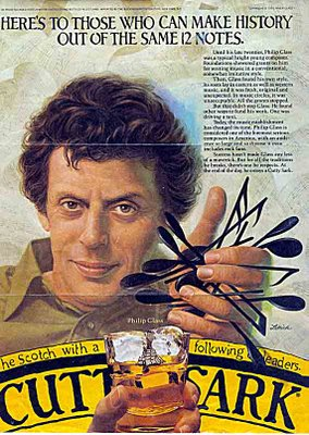 At the end of the day Philip Glass enjoys a Cutty Sark - Newsweek 1982