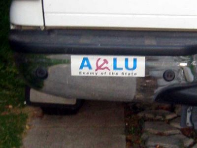 ACLU - Enemy of the State bumper sticker with a hammer and sickle as the C in ACLU
