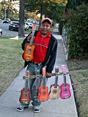 Selling small Guitars on a Pasadena Street