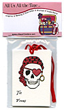 Valentine Pirate Skull Gift Tags