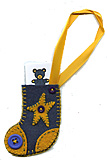 Blue Wool Felt Stocking Gift Tag