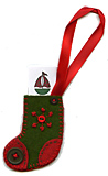 Green Wool Felt Stocking Gift Tag
