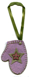 Purple Wool Felt Mitten Gift Tag