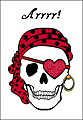 Pirate Skull Valentine Postcard