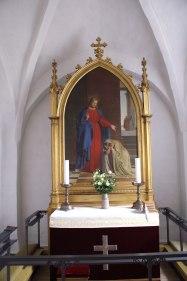 Altertavle Blovstrød Kirke. Sandholm ligger i Blovstrød.
